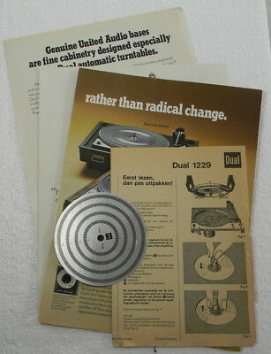 Dual 1229 Turntable Brochures, Speed Disc and Unpacking directions