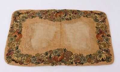 Vtg 1920's VELVET FLORAL BOUDOIR PILLOW METALLIC VELVET THREAD EMBROIDERY