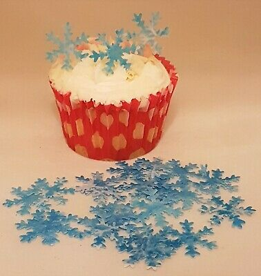 24 x pre-cut edible snowflakes wafer paper cup cake decorations toppers various