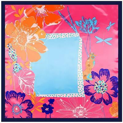"""SCARF 35"""" Square Navy Blue Border Hot Pink Background Turquoise Floral FLOWERS"""
