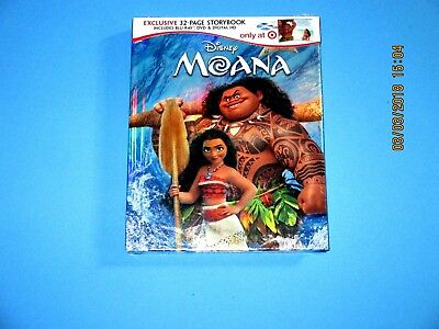 Disney MOANA (Blu-ray+DVD+Digital) Target Exclusive with 32 Page Storybook NEW
