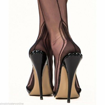 b9c59b919 3 x GIO Fully fashioned seamed stockings Susan and Manhattan heel size 8.5  XS