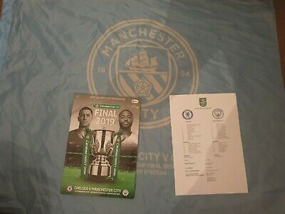 Chelsea vs Manchester City CARABAO CUP FINAL 2019 with teamsheet& Flag