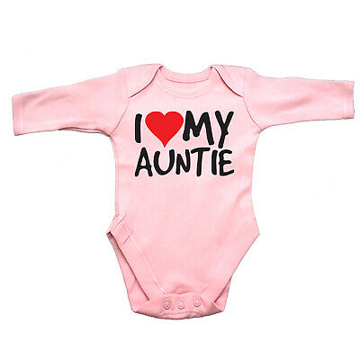 Funny Baby Infants Babygrow Romper Jumpsuit - I Heart Love My Auntie