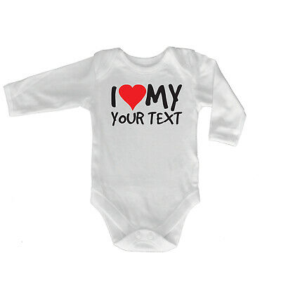 Funny Baby Infants Babygrow Romper Jumpsuit - I Heart Love My Your Text