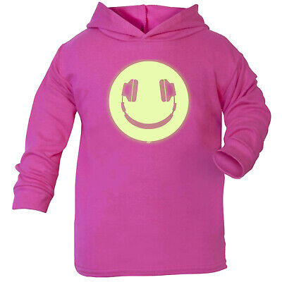 Funny Baby Infants Cotton Hoodie Hoody - Headphone Dj Smile Glow In The Dark