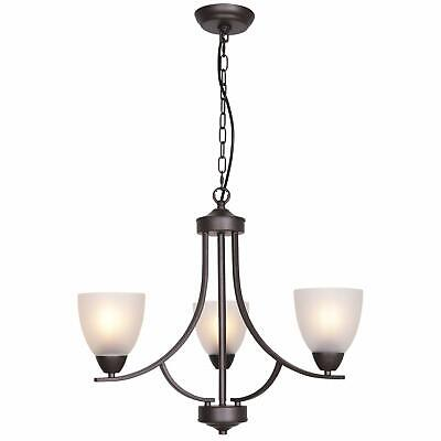VINLUZ 3 Light Shaded Contemporary Chandeliers with Alabaster Glass Oil Rubbed