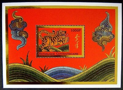 1998 Mnh Central Africa Year Of The Tiger Stamps Sheet Ss Chinese Lunar New Year