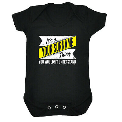 Funny Baby Infants Babygrow Romper Jumpsuit - V2 Your Surname Thing