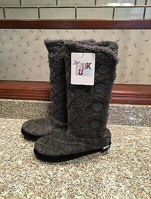 Original Muk Luks Gray Cable Knit Fleece Lined Tall Boots Sz L 9-10 New Nwt