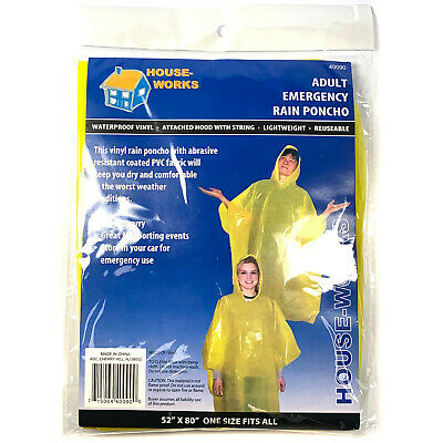 8 Yellow Emergency Rain Poncho Hooded W// String Camping Hiking Outdoor Disaster