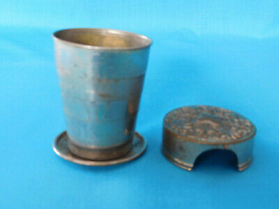 Antique Metal Collasping Dring Cup With Ornate Lid Dated Feb. 25, 1897