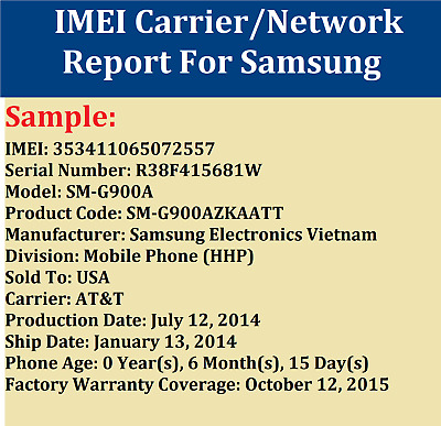 Instant Fast imei SIM LOCK CARRIER NETWORK CHECK FOR SAMSUNG WORLDWIDE SERVICE
