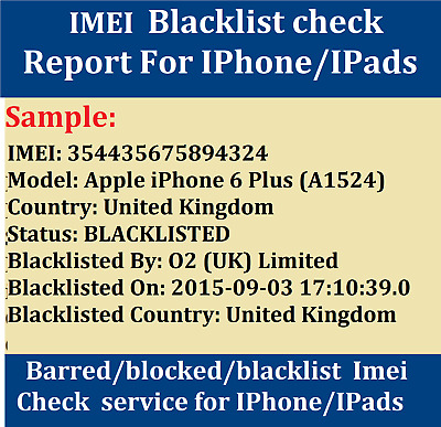 INSTANT FAST Blacklist Status Check Service for ANY IPhone Samsung Sony Nokia
