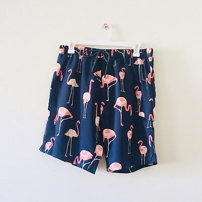 8d8f4c07506af NWOT New No Retreat Mens Swim Trunks Shorts Pink Flamingo Bird Navy Blue  Small