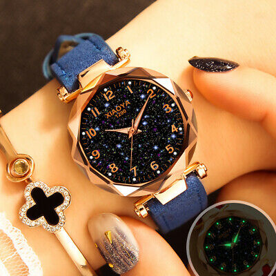 Luxury Womens Starry Sky Watch leather Straps Buckle Fashion with Star Watch FH