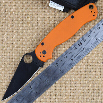 Great quality black handle stainless steel blade folding camping hunting knife