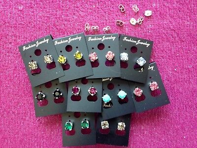 JOBLOT-10 pairs of 0.6cm colour diamante stud earrings.Silver plated.UK made.