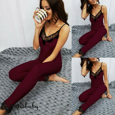 AU Women Vest+Pants Pajamas Set Pyjama Sleepwear Nightwear Loungewear Homewear