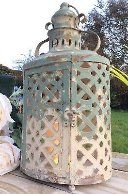 Large Antique French Vintage Style  Metal Garden Lantern Candle Holder Chic Home