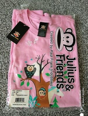 a95c8a3e0a NEW PAUL FRANK Julius   Friends Pink Monkey Tee T-Shirt Top Size Medium RRP
