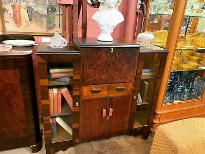 Art Deco Drop Front Writing Desk & Bookcase - Excellent Condition