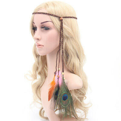 Women Fashion Peacock Tribal Feather Headband Knitted Rope With Wood Bead B