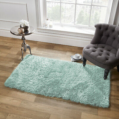 Sienna Shaggy Floor Rug Large Plain Soft Sparkle Mat Thick 5cm Pile Duck Egg