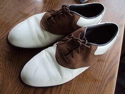 57933dfd528 Reebok Mens Golf Shoes Size 8 1 2 Leather Brown   White Oxford Classic