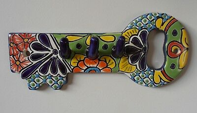 Wall plaque KEY HOLDER - LGE Mexican Talavera Handpainted vibrant decor folk art