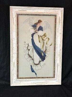 "Vintage Angel Completed Beautifully Framed Needlepoint 23"" X 18"" Angel & Harp"