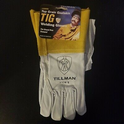 "New TILLMAN 1328 Small Top Grain Goatskin TIG Welding Gloves Sz. S 4"" Cuff"