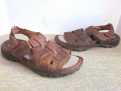 95a7580f7093 Born Men s Size 13 Brown Leather Fisherman Sandals Casual Open Toe Shoes ...