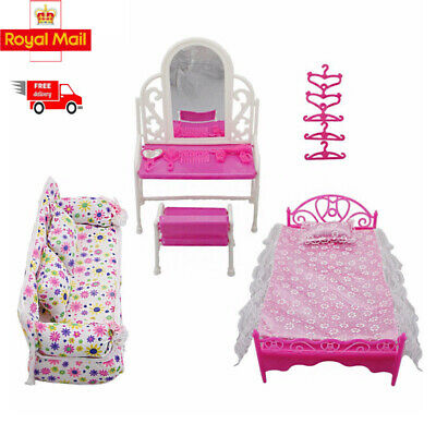 Barbies Dolls Bedroom Furniture Play House Pink Bed Dressing Table & Chair Set
