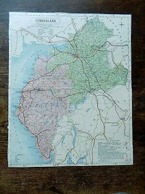 1884 County Map Cumberland Lake District Lett Popular Atlas Old Antique Vintage
