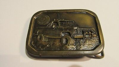Vintage Indiana Metal Craft Belt Buckle 1977 Free Wheelin Four Wheelin Truck !!!