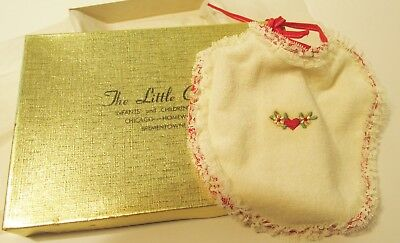 Vintage Baby Bib Brand New Heart & Flowers With Lace Marshall Fields Little Col.