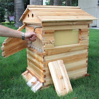 Langstroth Flow Bee Hive w/ 7pcs Auto Honey Wooden Beehive for Bees Home Garden