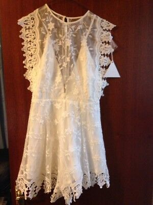 ee6c0bfbe7 New With Tags Asos Love Triangle White Lace Playsuit Jumpsuit Dress Medium