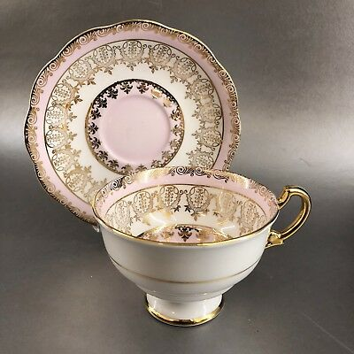 Royal Standard Vintage Pink Gold Lace Tea Cup & Saucer Bone China England Teacup