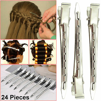 24 Pieces Metal Hair Sectioning Clips Sprung Strong Grip Hairdressing Hair Clip