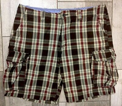 St Johns Bay Mens Cargo Shorts Size 38 100% Cotton Flat Front Plaid Fast Ship
