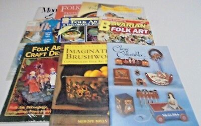 Bulk 10 x Folk Art Books Craft Books Brushwork,Bavarian,Terracotta,Mooseweek