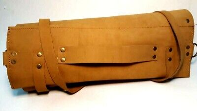 Professional Tan Leather Lightweight Knife Chef Roll Bag Free P&P Uk