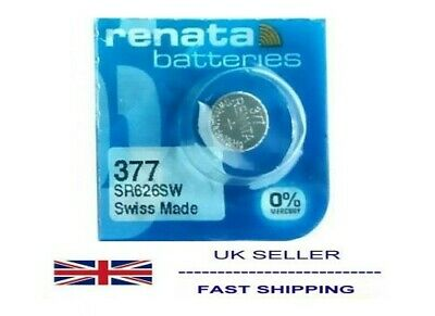 1 x Renata 377 1.55v Watch Cell Battery SR626SW Mercury Free Fits Casio MQ24