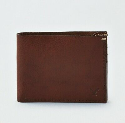 x1 American Eagle Outfitters Mens BROWN Bifold Card Wallet 100% Genuine Leather