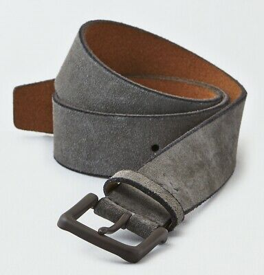 American Eagle Outfitters Mens GREY SUEDE Genuine Leather SIZE 34 Belt Buckle Sq