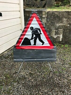 Men At Work Roll Up Road Sign & Tripod Stand