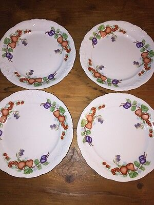 "Set of 4 Royal Kent Poland Porcelain Fruit Garland 10"" Dinner Plates Excellent"
