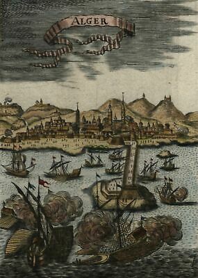 Algiers Algeria harbor view ships North Africa 1719 Mallet vintage color view